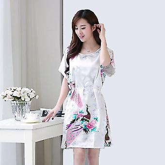 New Night Summer Sleepwear Casual Faux Silk Nightgown Homewear Nightwear Banho de Camisola