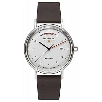 Bauhaus Men's Brown Italian Leather Strap | White Dial | Automatic | Day/Date 2162-1 Watch