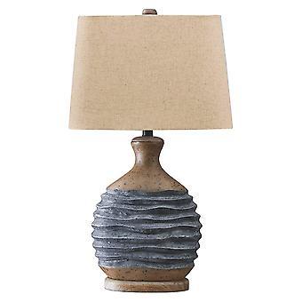 Lámpara de mesa de sombra de tela con base texturizada, beige y gris