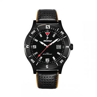 Watch Ruckfield 685020 - Dateur Bo tier Steel Black Leather Bracelet Black and Brown Men