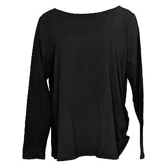 Anybody Women's Top Cozy Knit Luxe Long Sleeve Boat Neck Black A392533