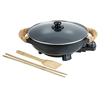 wok pan 230V 32 cm steel/glass/bamboo black/natural