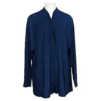 Cuddl Duds Women's Sweater Plus Flexwear Cardigan Peplum Hem Blue A391565