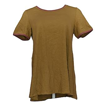 LOGOTIPO por Lori Goldstein Women's Top Knit c/ Contraste Detail Green A350939