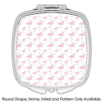 Gift Compact Mirror: Tiny Flamingos Exotic