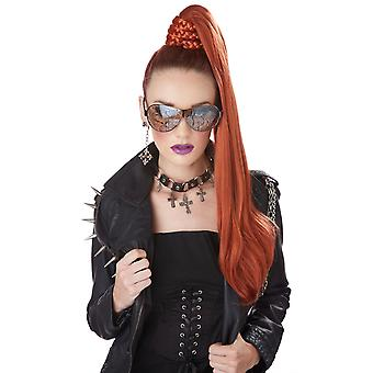 Dominatrix Ponytail Celebrities Womens Costume Red Clip On Wig