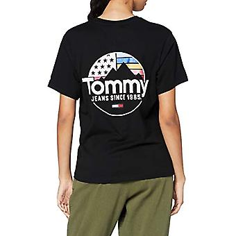 Tommy Jeans Tjw Circle Mountain Tee Shirt, Black, S Woman