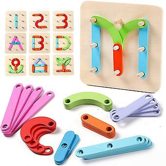 FengChun Holzpuzzles Holzbuchstaben Anzahl Sorter Puzzle Pdagogische Stapelblcke Spielzeug Vorschule