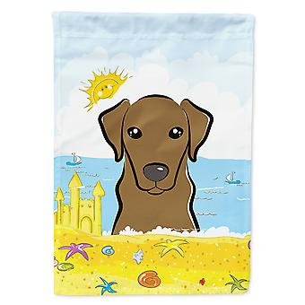 Caroline's Treasures Bb2102Chf Chocolate Labrador Summer Beach Flag Canvas House, Grande, Multicolore