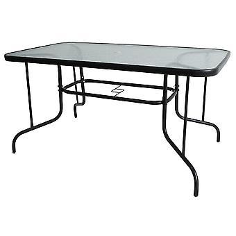 Puutarhapöytä 150 x 90 cm – Metalli + Lasi – Vesiaaltokuvio