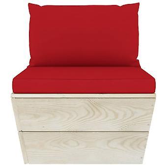 vidaXL Tuinpallet Center Sofa met Kussen Geïmpregneerd VurenHout
