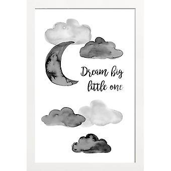 JUNIQE Print - Dream Big Little One - Chambre d'enfants & Art pour enfants Poster en Gris & Noir