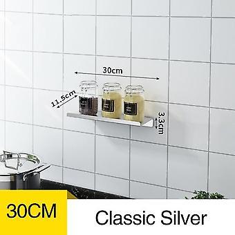 30CM Kitchen Spice Rack Shelf Electroplate Wall Mounted Sauce Salt Shaker Sugar Bowl (Sliver)