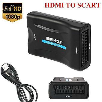 Signal video ljudomvandlare exklusiva adaptrar mottagare hd 1080p scart till hdmi-kompatibel för hushållsdatortillbehör
