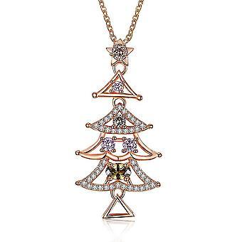 INALIS Femeiăs Sweet Delicate Christmas Tree Colorat Zircon Colier Cadou
