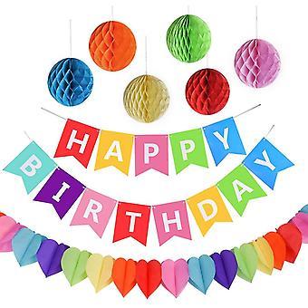 Geburtstagsfeier Dekorationen, Happy Birthday Spruchband mit 6 Wabenbällen und Einer
