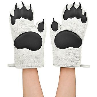 1 Pair Oven Gloves Kitchen Silicone Cute Bear Palm Oven Mitts For Kitchen Cooking Grilling Baking