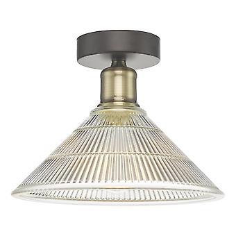 DAR BOYD Flush Loft Light Antikke Messing med glas skygge, 1x E27