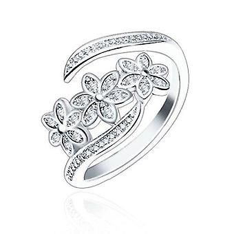 2Pcs Fashion Elegant Adjustable Flowers with Diamond Forefinger Rings Women Jewelry