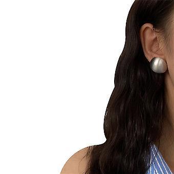 עגילי מתכת אירופאים ואמריקאיים פשוט גיאומטרי עגול עגילי אוזניים(כסף)