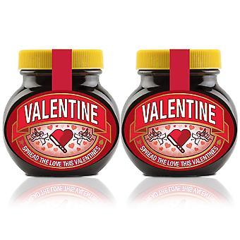Marmite Spread Valentinstagsgeschenk, Valentinstag Personalisiertes Glas - Packung mit 2 x 250g