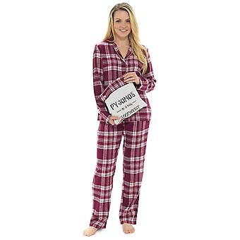Ladies Checked Print Button Fronted Pyjama Set with Gift Bag 20-22 Wine Check