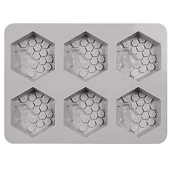 6キャビティ3D蜂ハニカム石鹸金型六角形シリコーン型