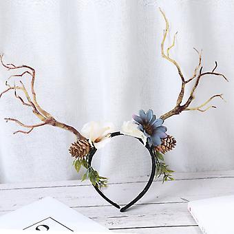 Evago Simulering Butterfly Blomst Dekorasjon Kvinner Floral Crown Boho Blomst Pannebånd Hår Krans Blomster Hodestykke Halo Med Bånd Bryllupsfest Festi