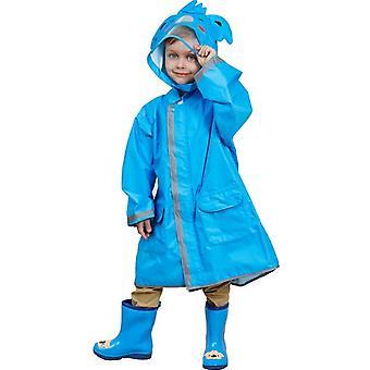 מעיל גשם מצויר לילדים עם שוליים גדולים, עמיד למים רפלקטיבי