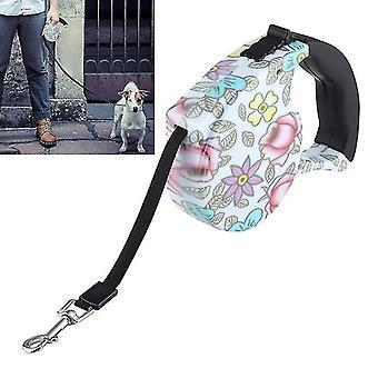 5m pünkösdi rózsa minta rugalmas és visszahúzható kutya / macska póráz, alkalmas a napi gyaloglásra