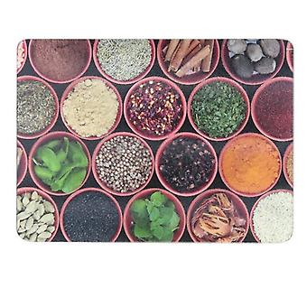 28x38cm Spice Pots Glass Worktop Saver Protector Chopping Cutting Board