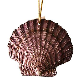 Tropical Beach Seashell Christmas Ornament Purple and Brown ORNShell14 Resin