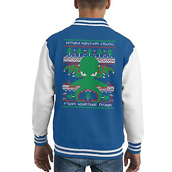 Cthulhu Cultist Christmas Knit Pattern Kid's Varsity Jacket