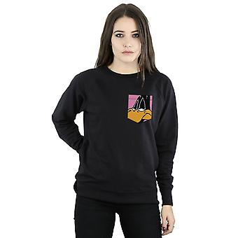 Looney Tunes kvinnors Daffy Duck möta Faux Pocket Sweatshirt