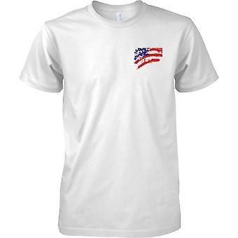 USA, Sterne und Streifen Flag Effect - Kinder-Brust-Design-T-Shirt