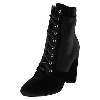 Ladies Spot On F50700 Lace Up Velvet Ankle Boots
