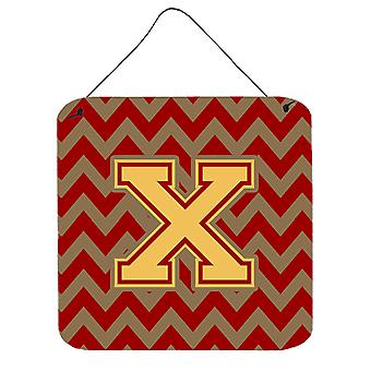 Buchstabe X Chevron Granat und Gold Wand oder Tür hängen Drucke