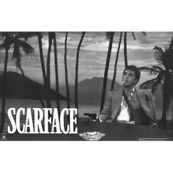 Scarface Palm Tress Bw Poster Poster Print