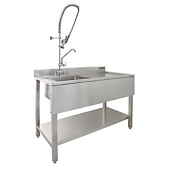 Commercial Sink Catering Keuken RH Drainer 1.0 Bowl & Pre-Rinse Spray Mixer Tap
