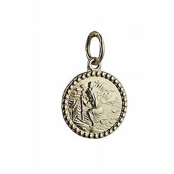 18-каратное золото 13 мм раунд St Кристофер Кулон только подходит для детей