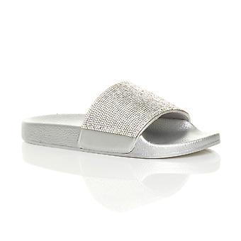 Ajvani womens platte schuifregelaars slip op diamante mule sparkly sandalen flip flops slippers