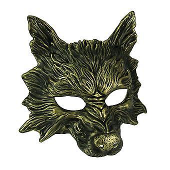 Metallic Gold Scary Wolf Adult Costume Mask