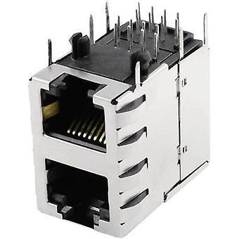 Modüler monte soket çift katlı 2 x 1 Port korumalı Cat 5 Soket, yatay montaj Pim sayısı: 8P8C SS-738811S-PG4-AC Nikel kaplı, Metal BEL Stewart
