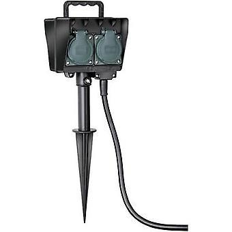Brennenstuhl 1154450 weerbestendige socket strip 4x zwart, groen incl. grond Spike