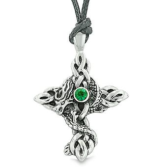Fire Dragon bescherming Keltische knopen Kruis magisch Amulet Koninklijke groene tegenhanger van het kristal ketting