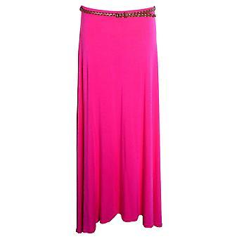 Nya damer lång Gypsy bältade Plain färgade Jersey långklänning Womens kjol