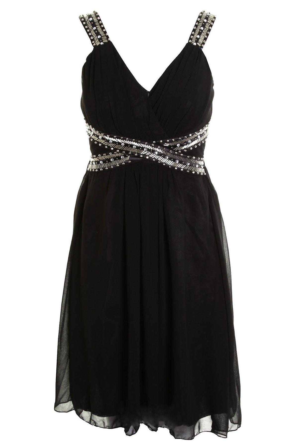 Ladies Sleeveless Pleated Trim Detail Sequin Chiffon Party Women's Dress