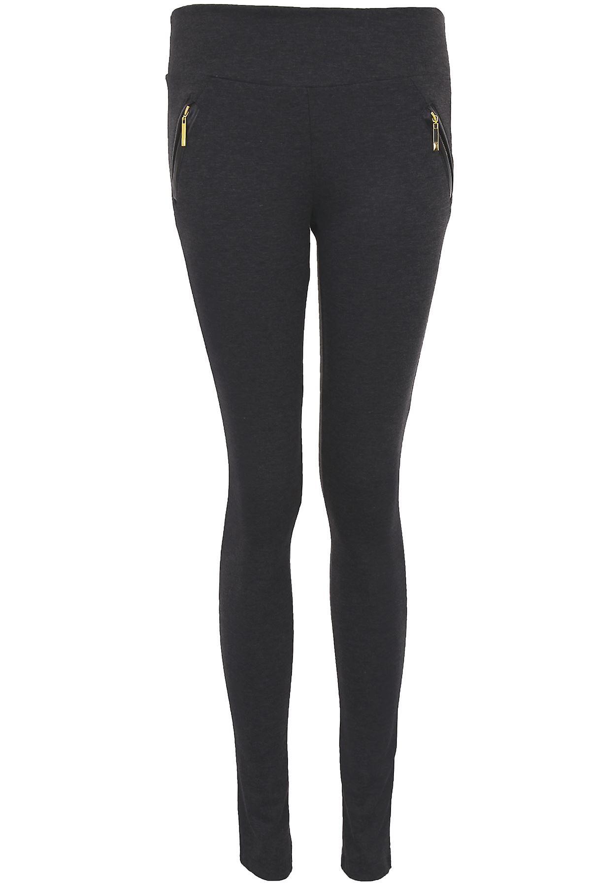 Ladies Skinny Fit Gold Zip Pockets Women's Smart Office Jeggings Trousers