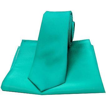 Дэвид ван Хаген Атлас тонкий галстук и карманные квадратных Set - зеленый морской