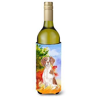 Fall Brittany Spaniel Wine Bottle Beverage Insulator Hugger